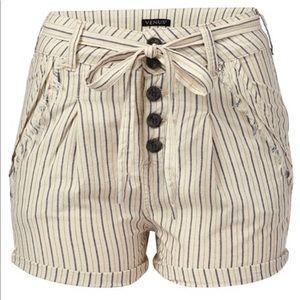 Plus - Tie detail stripe shorts